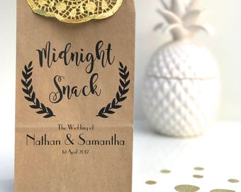Personalised Stand Kraft Paper Lolly Bags Wedding Favour Bonbonniere Gift Bag – Midnight Snack