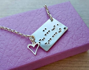 Secret message necklace, morse code, sterling silver, hand stamped, I love you, gift for her