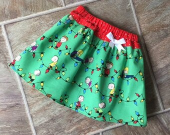 Charlie Brown Christmas, Charlie Brown Christmas Dress, Charlie Brown Christmas Skirt,Snoopy and Charlie Brown Christmas, Peanuts, Handmade