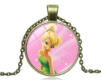 A beautiful necklace with a glass cabochon 25 mm fairy Bell