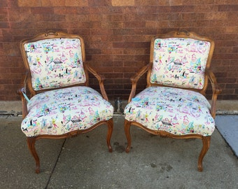Parisian Print Upholstered Armchairs - A Pair