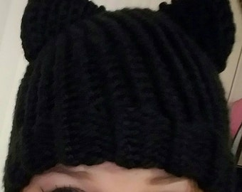 Black Cat Ears Hat - Chunky Knit Cat Hat - Kitty Ears Beanie - Made to Order