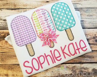 Popsicle Trio with Bow - Personalized Ice Pop Shirt - Popsicle Applique Shirt - Girls Monogrammed Shirt - Summer Ice Pop Shirt for Girls