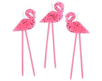 Pink Flamingo Birthday Candles - pink flamingo birthday candles, pink flamingo cake toppers, pink flamingo cake