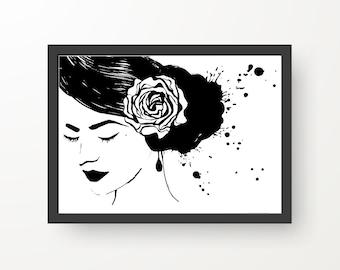 Spanish Flamenco Portrait Black & White Ink illustration - Digital Print Poster - A4, A3