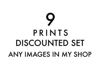 custom discounted set, set of 9 fine art prints, your choice any image, 5x5 8x8 10x10 12x12, LA San Francisco, California, beach, photograph