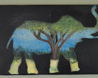 Savannah Elephant- original elephant silhouette. Canvas painting