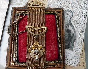 Antique Victorian Ladies Memento Mori Skull & Cross Mesh Watch Fob, Talisman for the Alchemist, by RusticGypsyCreations