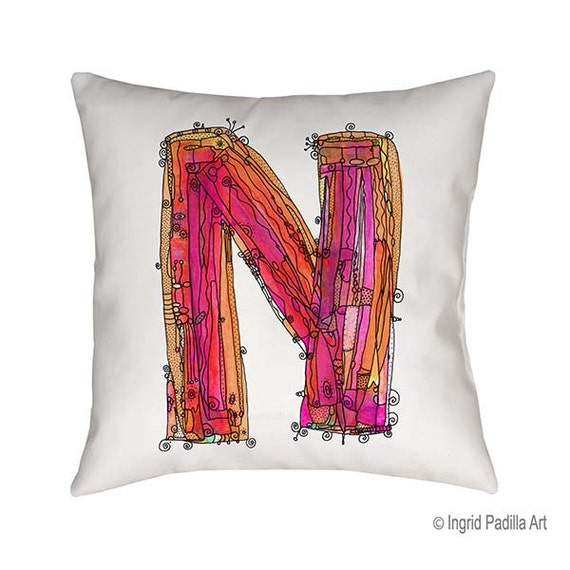 Whimsical, Letter, N, Pillow, Decorative, monogram pillow, Illustration, funky, typography, Alphabet, Art, Printed fabric, Ingrid Padilla