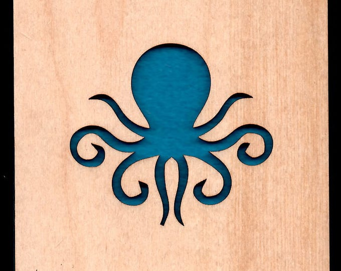 4 Octopus Coasters wooden laser cut natural eco-friendly Waterproof plywood birch and Felt