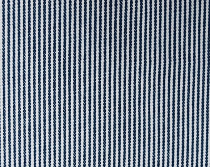 Railroad Stripe Denim Fabric Blue White Cotton By the Yard Narrow Striped