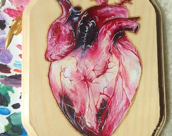 Heart Painting on Wood Panel (Acrylic)