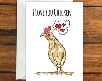 I Love You Chicken greeting card A6 One Card and Envelope Valentine's Romantic