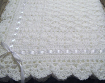 "New  Handmade Crochet White ""Sweet Dreams"" Christening / Baptism Baby Blanket"