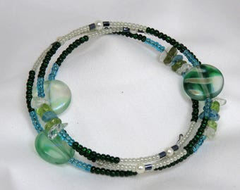 Peridot and Crystal  wrap-around bracelet