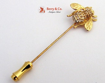 SaLe! sALe! Vintage Bumble Bee Stick Pin 14 K Yellow Gold