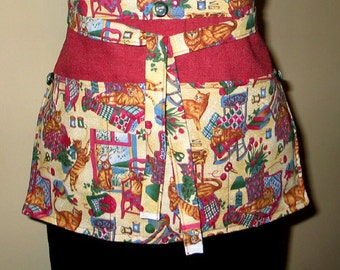 Womens Gardening  Market Vendor or Utility Apron  Cats  Crafts Cooking Kitchen