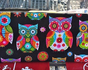 Coupon Organizer Owls & Rainbow Colors / Storage Case with Dividers / Check Book Case