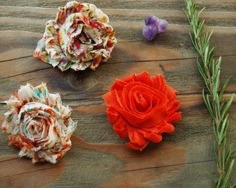 Trio of Autumn Colored Flower Hair Clips, Little Girl Hair Clips, Flower Clips, Fabric Flowers, Girl Accessories, Flower Barrette