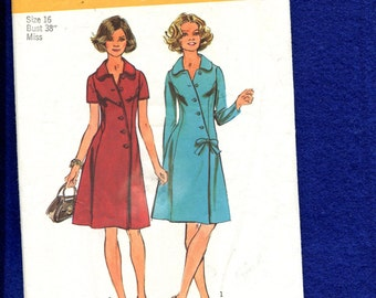 1970's Simplicity 5912 Cheongsam Inspired Shirt Dress with Angled Front Button Size 16