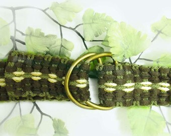 D ring belt,unisex belt, green belt, canvas belt,woven belt, waist ?? up to 36   # B 71