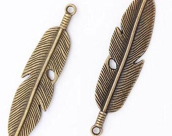 "2.5"" bronze tone Feather charm pendant, big feather charm pendant"