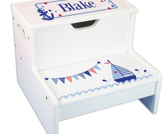 Kids Personalized STEP Stool With Storage U0026 Sailboat Design. Great For  Nautical Nurseries And Bathrooms