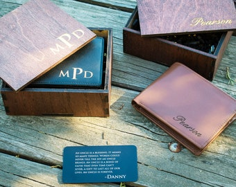 Groomsmen Wallet Gift, Personalized Leather Wallet- Mens Wallet, Groomsmen Gift, Engraved Leather Wallet, Wallet for Him Gift, RFID Wallet