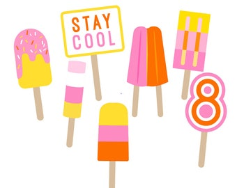 Popsicle Photo Booth Props Ready to use-Set of 7