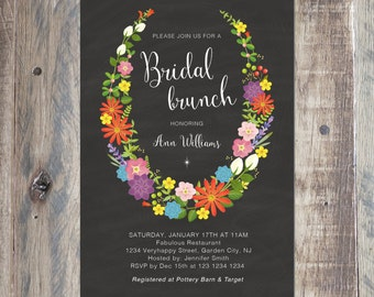 Flower Wreath Bridal Shower Invitation, Printable PDF or Jpeg