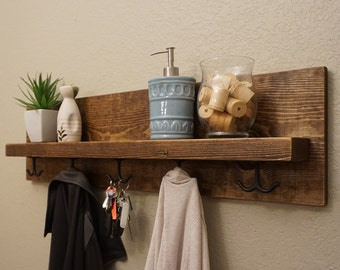 Modern Rustic Entryway Coat Rack with Floating Shelf and Hanging Hooks