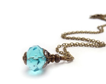 Sky Blue Crystal Necklace - Pale Aqua Blue Wire-Wrapped Pendant - Vintage Style Bronze