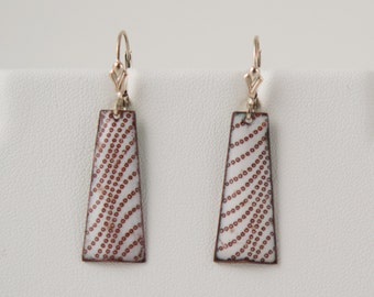 Wave Enamel Earrings - Japanese Pattern Earrings, Handmade Enamel, Ocean Wave
