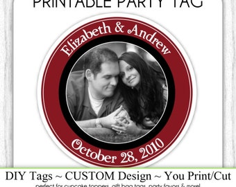 CUSTOM Photo Favor Printable, Engagement Party or Bridal Favor, Wedding Shower Printable, Custom Tag, DIY Cupcake Topper, You Print, You Cut