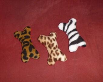 ANIMAL PRINT - BONE Squeaker toy - choose size - S M L