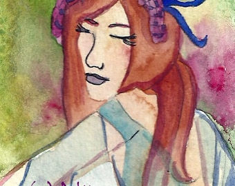 Spring Dance ACEO Fantasy ACEO Print  Fairy Art Dancing Watercolor Fairy ACEO Fairy Fairy Tale Magic by Niina Niskanen