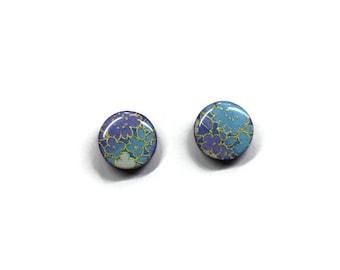Japanese paper earrings, Japanese stud earrings,Round stud earrings,Flower earrings, Purple earrings, Purple and blue earrings, Blue earring