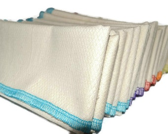 2 pack 2-Ply GOTS Certified Organic Cotton Birdseye Large Towels Sewn with Organic Cotton Thread in COLORS.....Your Choice of Edging Color