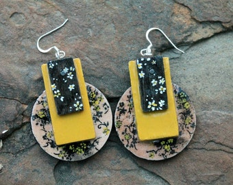 Hand-Painted Floral Dangle Black and Yellow Earrings