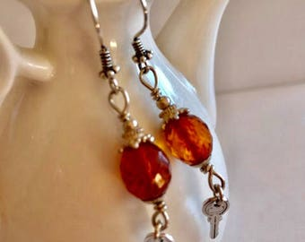 Tiny Key & Amber Earrings-Amber Earrings