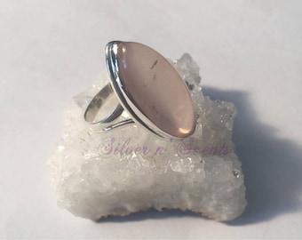 Sterling Silver Rose Quartz Ring.