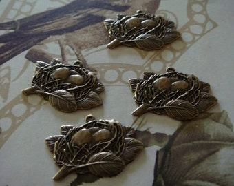 antiqued brass egg nest charms 4pc