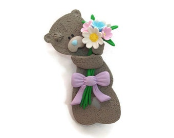 Pin gift for girls accessories Cute gifts for daughter Birthday gifts Bears gifts Animal brooch Clay gifts Teddy bear Clay accessories Pins