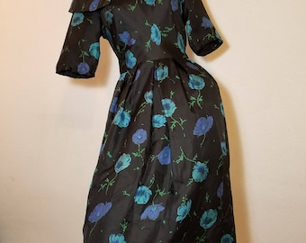 FREE  SHIPPING 1950  Silk  Floral  Dress