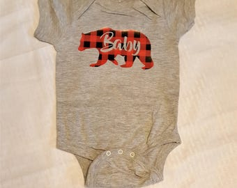 Buffalo Plaid Baby Bear Infant Bodysuit