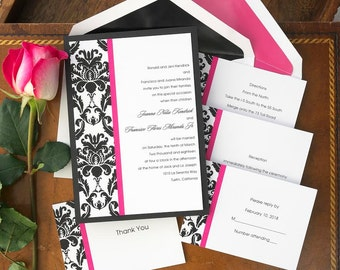 Victoria Damask Wedding Invitation Set - Layered, damask border, vintage, matching accessory cards, pink, black- AV1207