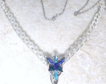 Blue Evenstar Necklace Half Torc with Celtic Weave Base