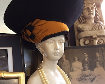 Fabulous Vintage 50s Avant Garde Black Gold Butterscotch Wool Bollman Huge Ladies Hollywood Glam Statement Hat