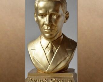Barack Obama color gold bust figure sculpture