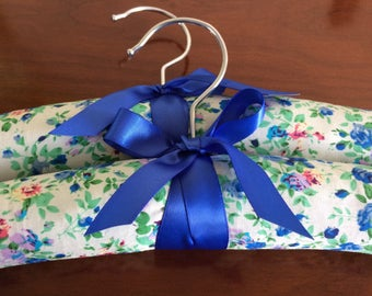 Blue and cream floral padded coathangers x 2